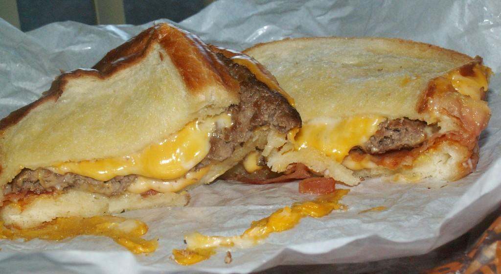 Carl's Jr. Grilled Cheese Bacon Burger Cut
