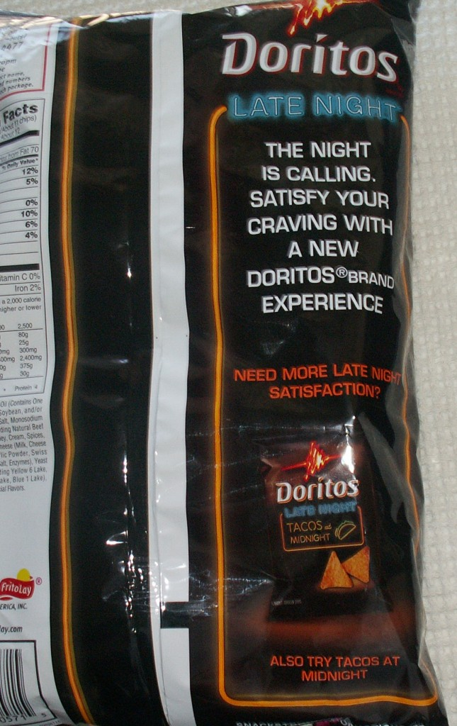 Doritos Late Night All-Nighter Cheeseburger Bag Back