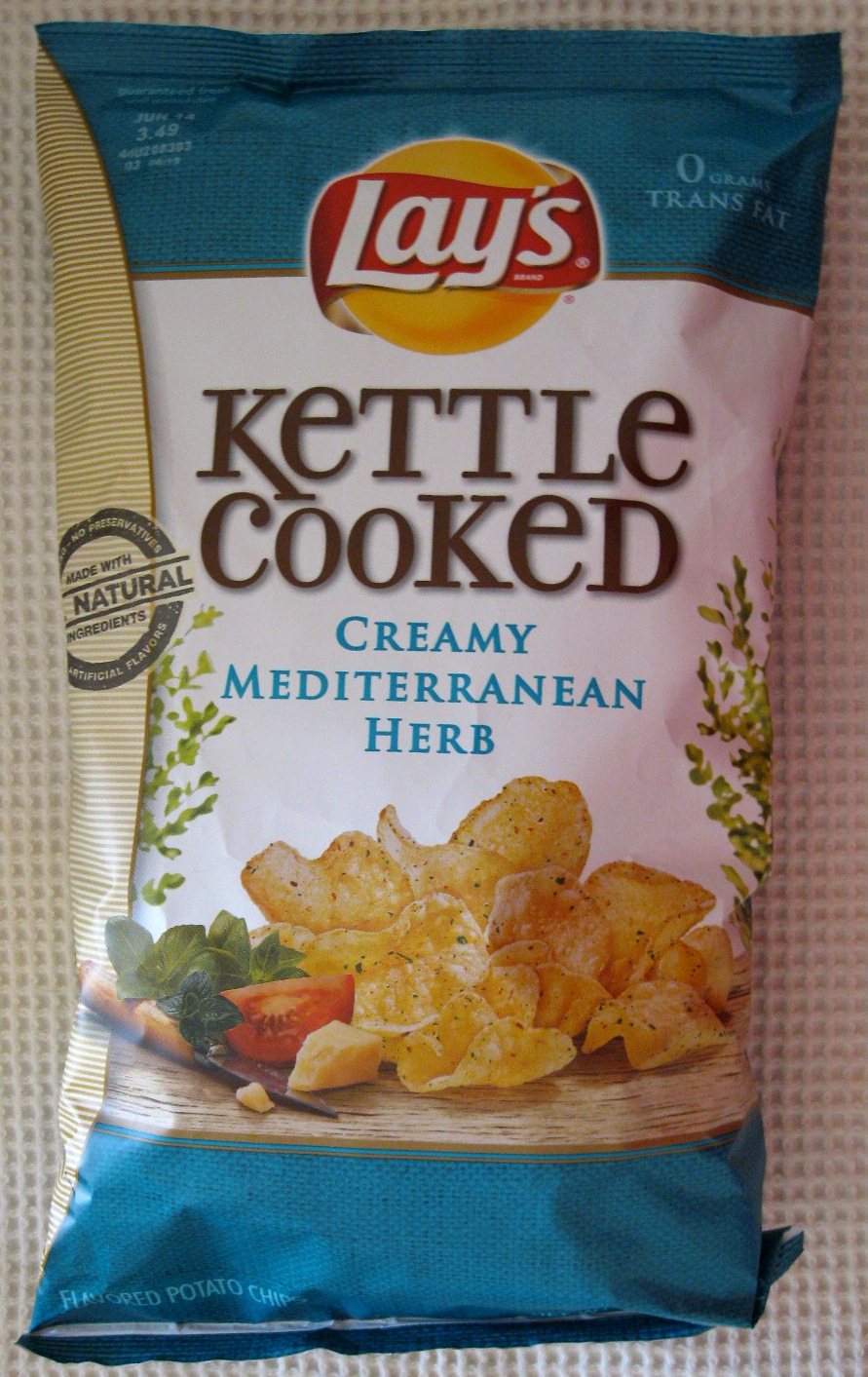 Kettle Cooked Chips ~ Lay s kettle cooked creamy mediterranean herb flavored