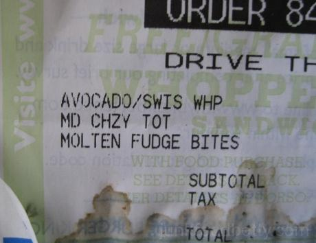 Burger King Cheesy Tots Receipt