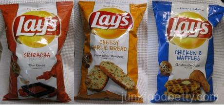 Lay's Do Us a Flavor Finalists Sriracha, Cheesy Garlic Bread and Chicken & Waffles Potato Chips Bags