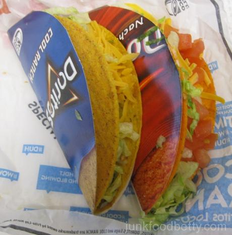 Taco Bell Cool Ranch Doritos Locos Taco and Nacho Cheese Doritos Locos Taco Supreme