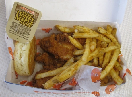 Popeye's Chicken Waffle Tenders with Sweet Honey Maple Sauce Combo