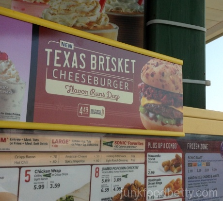 Sonic Texas Brisket Cheeseburger Menu