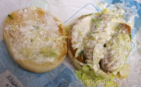 Jack in the Box Jack's Munchie Meal Exploding Cheesy Chicken Sandwich Open
