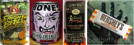 Snak King Fright Bites Tortilla Chips Bag Jones Blood Orange Soda Hershey's Candy Corn Bar Seattle Chocolates Dead Sea Salt Bar