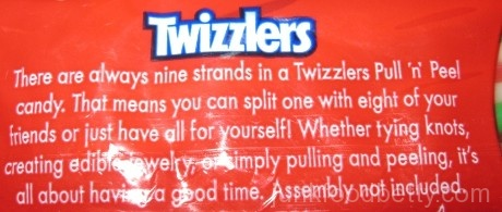 Twizzlers PULL 'n' PEEL cherry green apple lemonade Package Back