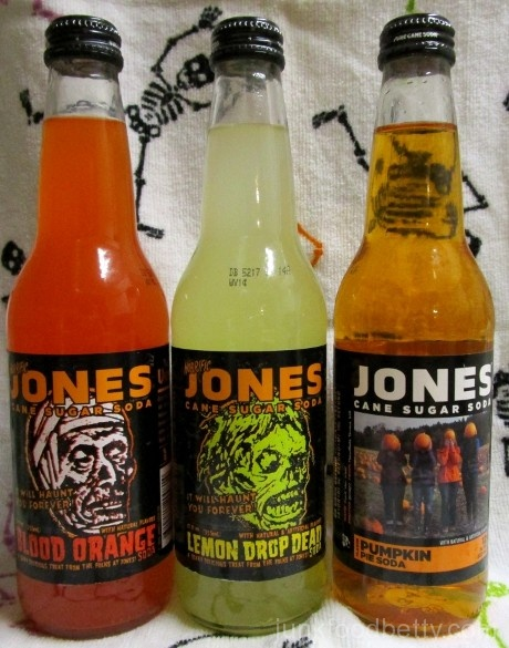 Jones Soda Blood Orange, Lemon Drop Dead and Pumpkin Pie Bottles