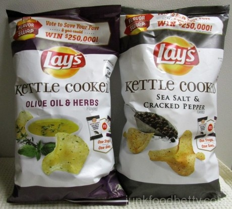 Lay's Flavor Swap Kettle Cooked Olive Oil & Herbs and Sea Salt & Cracked Black Pepper Packages