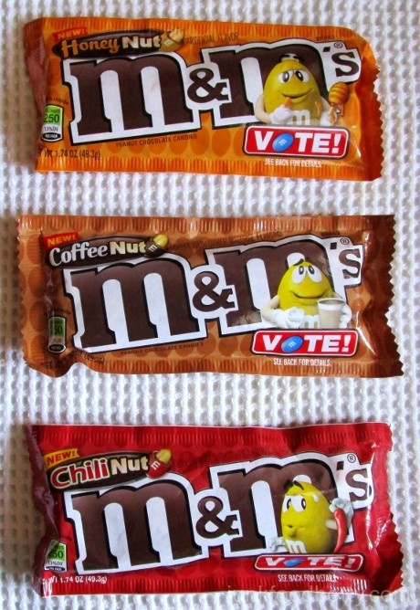 Honey Nut, Coffee Nut, Chili Nut M&Ms Packages